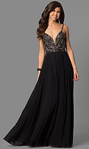 Long Deep V-Neck Spaghetti Strap Prom Dress