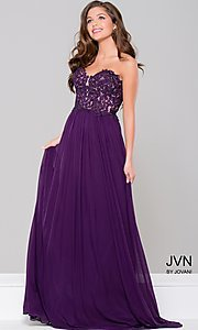 Strapless A-Line Chiffon Prom Dress with Lace