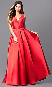 Long A-Line V-Neck Prom Dress with Cut Outs