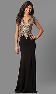 V-Neck Embroidered Prom Dress with Cap Sleeves