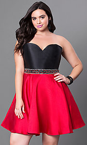 Two Tone Short Strapless Sweetheart Plus Size Dress