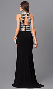 Image of two-piece black long prom dress from JVNX by Jovani. Style: JO-JVNX128 Back Image