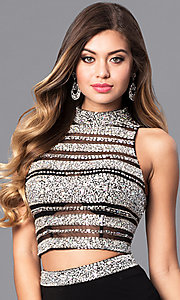 Image of two-piece black long prom dress from JVNX by Jovani. Style: JO-JVNX128 Detail Image 1