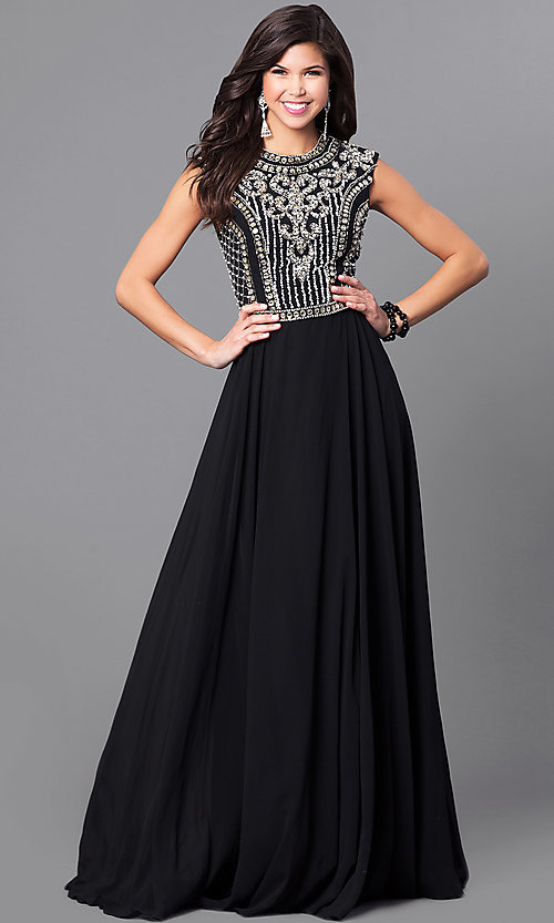Image of embellished-bodice prom dress from JVNX by Jovani. Style: JO-JVNX113 Front Image