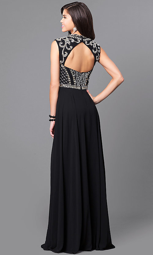 Image of embellished-bodice prom dress from JVNX by Jovani. Style: JO-JVNX113 Back Image