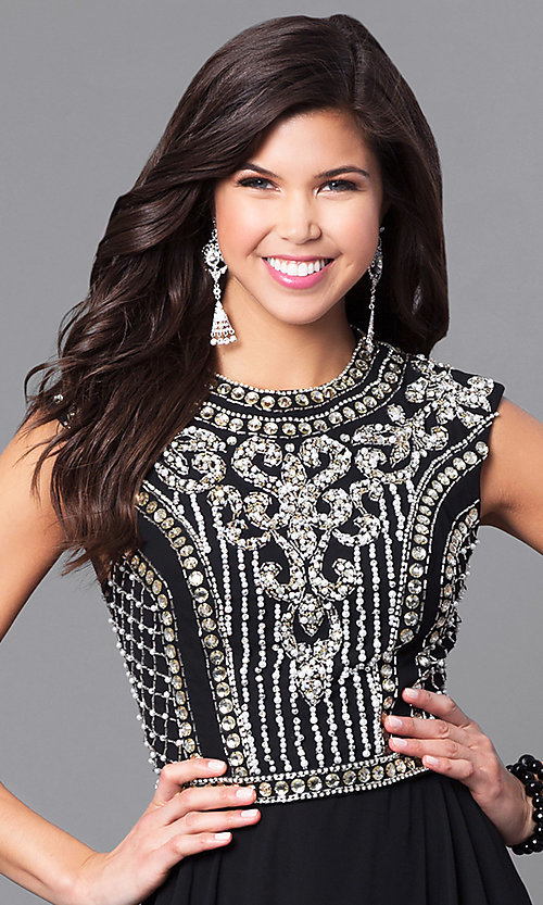 Image of embellished-bodice prom dress from JVNX by Jovani. Style: JO-JVNX113 Detail Image 1