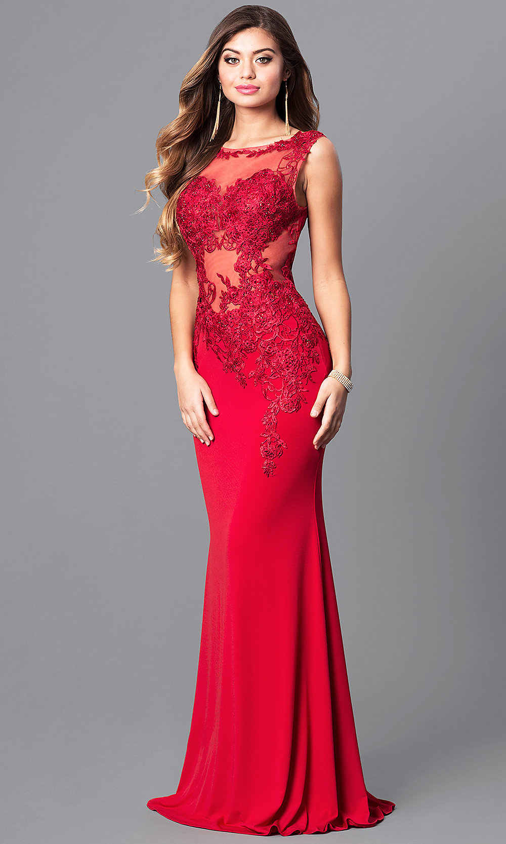 JVNX by Jovani Red Prom Dress with Lace - PromGirl