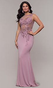 Image of lace-applique long prom dress from JVNX by Jovani. Style: JO-JVNX103 Front Image
