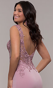 Image of lace-applique long prom dress from JVNX by Jovani. Style: JO-JVNX103 Detail Image 2