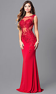 Image of lace-applique red prom dress from JVNX by Jovani. Style: JO-JVNX103 Front Image