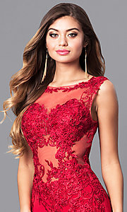 Image of lace-applique red prom dress from JVNX by Jovani. Style: JO-JVNX103 Detail Image 1