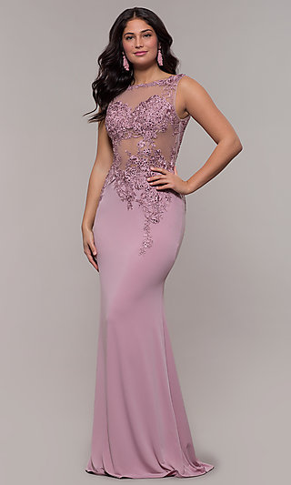 Lace-Applique Long Prom Dress from JVNX by Jovani