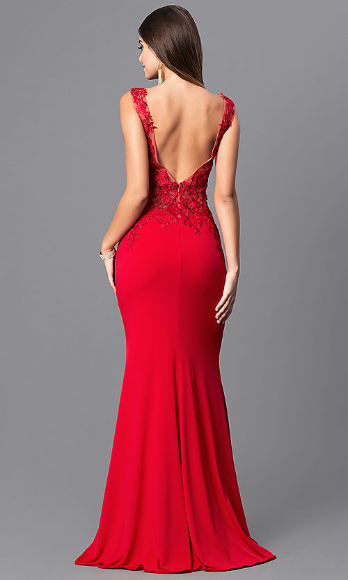 Image of lace-applique red prom dress from JVNX by Jovani. Style: JO-JVNX103 Back Image