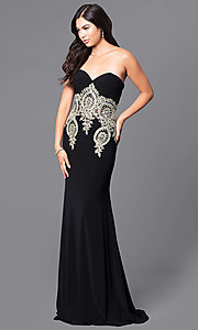 Image of JVNX by Jovani long black designer prom dress. Style: JO-JVNX121 Back Image
