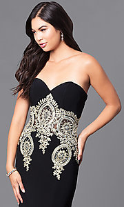Image of JVNX by Jovani long black designer prom dress. Style: JO-JVNX121 Detail Image 1