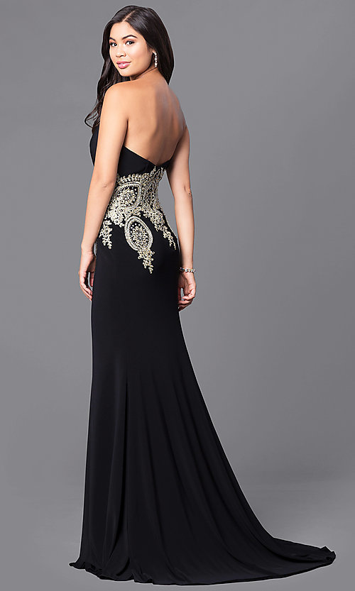 Image of JVNX by Jovani long black designer prom dress. Style: JO-JVNX121 Front Image