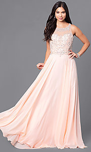 Image of blush pink long prom dress from JVNX by Jovani. Style: JO-JVNX122 Front Image