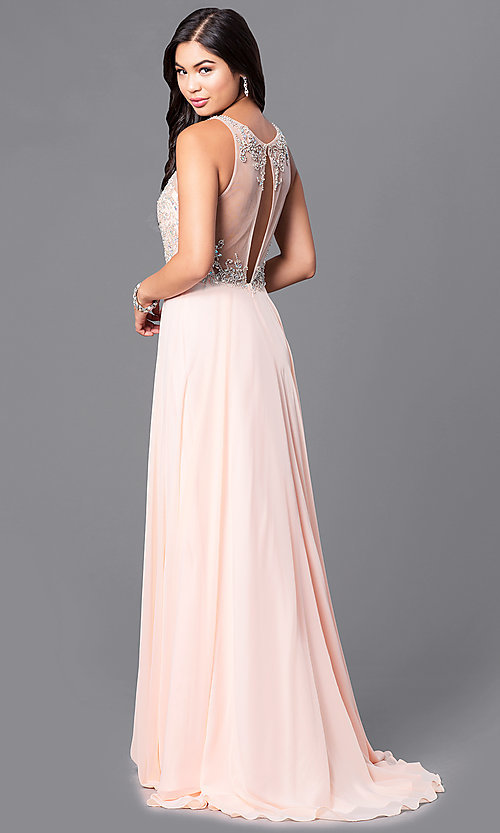 Image of blush pink long prom dress from JVNX by Jovani. Style: JO-JVNX122 Back Image