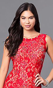 Image of JVNX by Jovani long red lace prom dress with sequins. Style: JO-JVNX127 Detail Image 1
