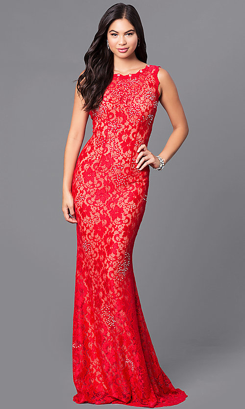 Image of JVNX by Jovani long red lace prom dress with sequins. Style: JO-JVNX127 Front Image