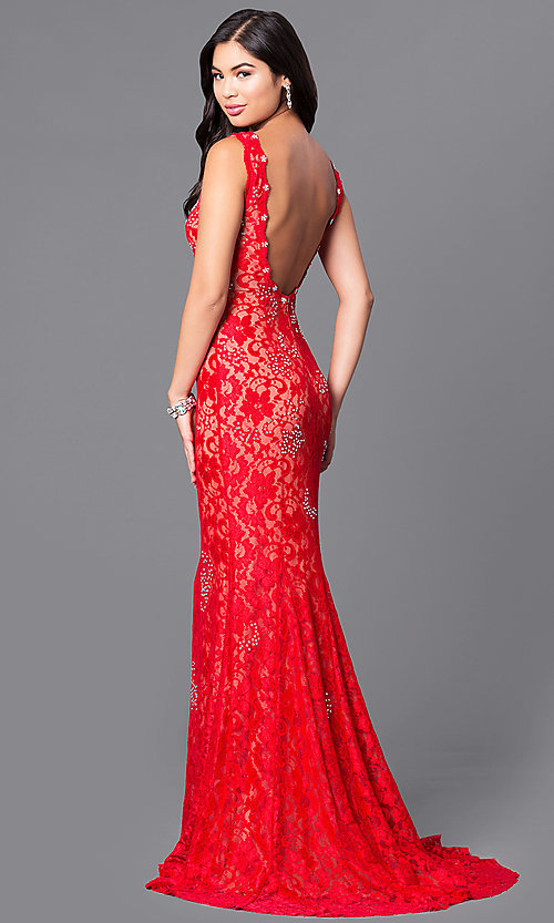 Image of JVNX by Jovani long red lace prom dress with sequins. Style: JO-JVNX127 Back Image