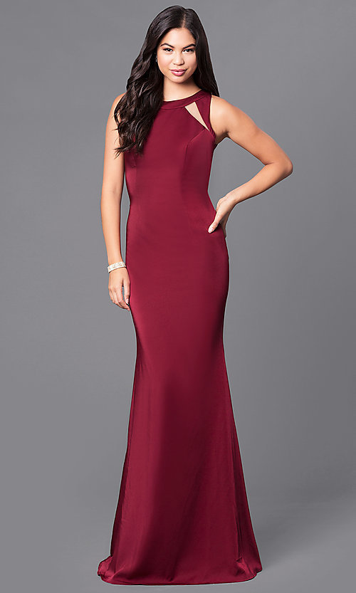 JVNX by Jovani Wine Red Long Prom Dress - PromGirl