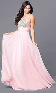 Image of long JVNX by Jovani prom dress with sheer bodice. Style: JO-JVNX107 Front Image