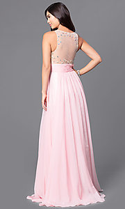 Image of long JVNX by Jovani prom dress with sheer bodice. Style: JO-JVNX107 Back Image