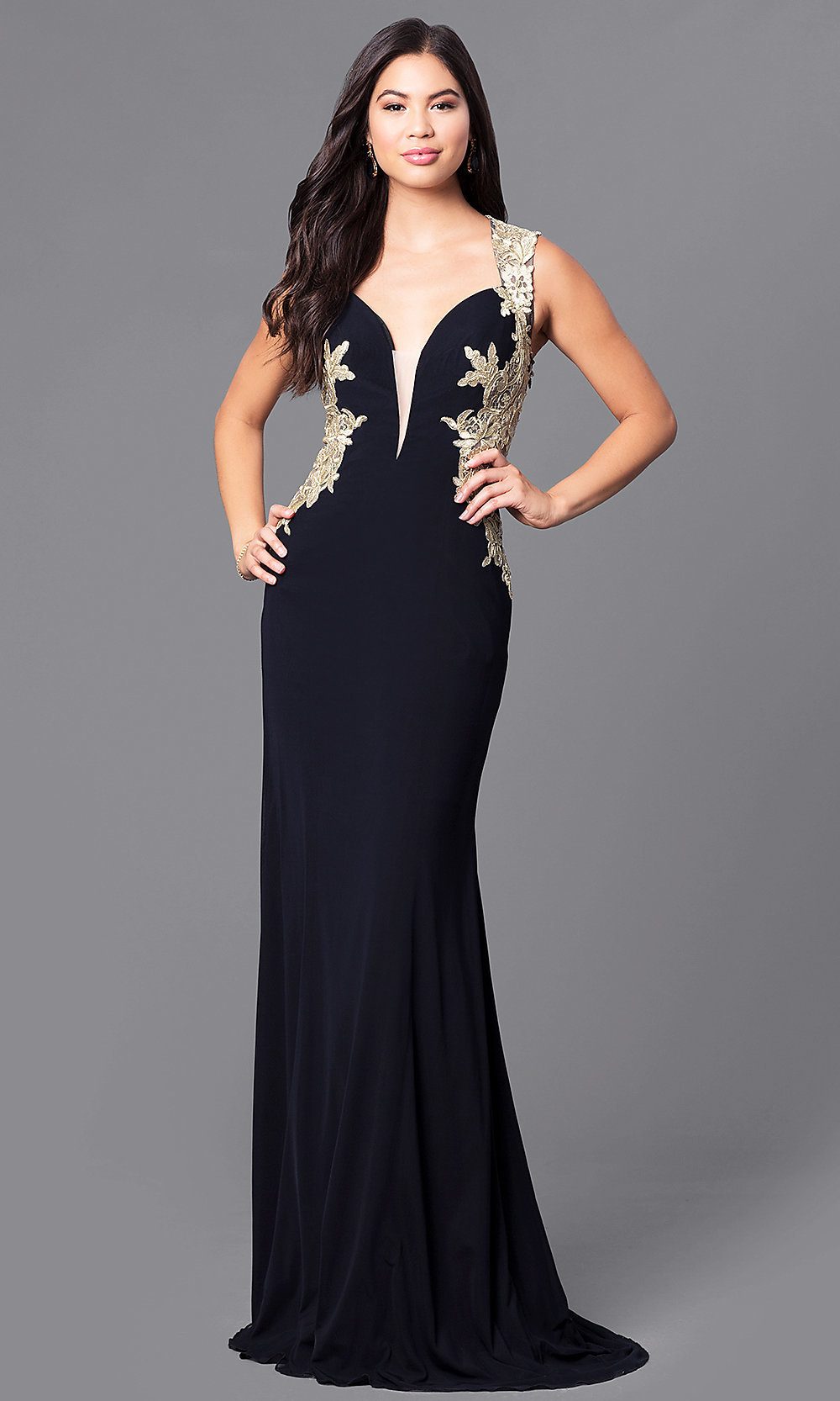 Black Long Designer Formal Prom Dress - PromGirl