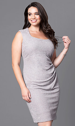 Glitter-Embellished Short Sleeveless Plus Party Dress