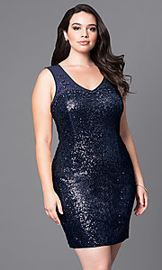 Short Sequin Plus Holiday Party Dress