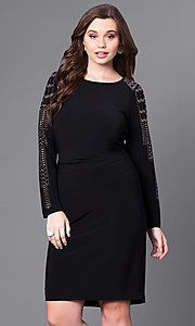 Long Sleeve Plus Size Sheath Party Dress
