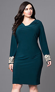 Long Sleeve Plus Size Party Dress with Cowl Neck