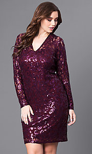 Long Sleeve V-Neck Plus Size Sequin Party Dress