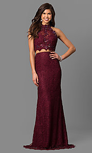 Long Lace Two Piece High Neck Prom Dress