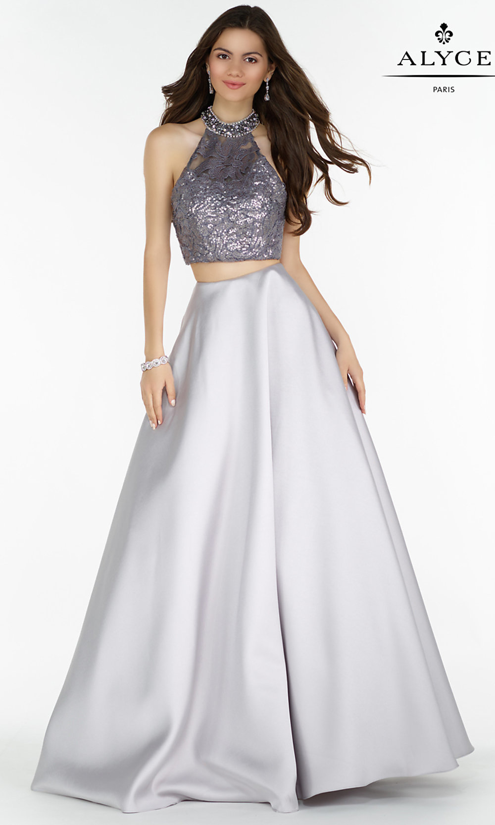 174c02b55785 A-Line Long Two Piece Open Back Prom Dress