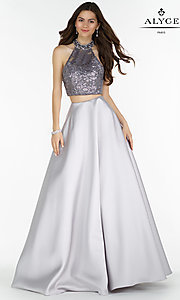 A-Line Long Two Piece Open Back Prom Dress