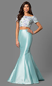 Off-the-Shoulder Short Sleeve Mermaid Prom Dress