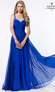 Long Chiffon V-Neck Prom Dress by Alyce