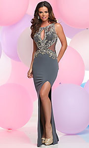 Beaded Keyhole Front Bodice Long Prom Dress