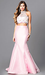 Two-Piece Lace Bodice Prom Trumpet Skirt Dress