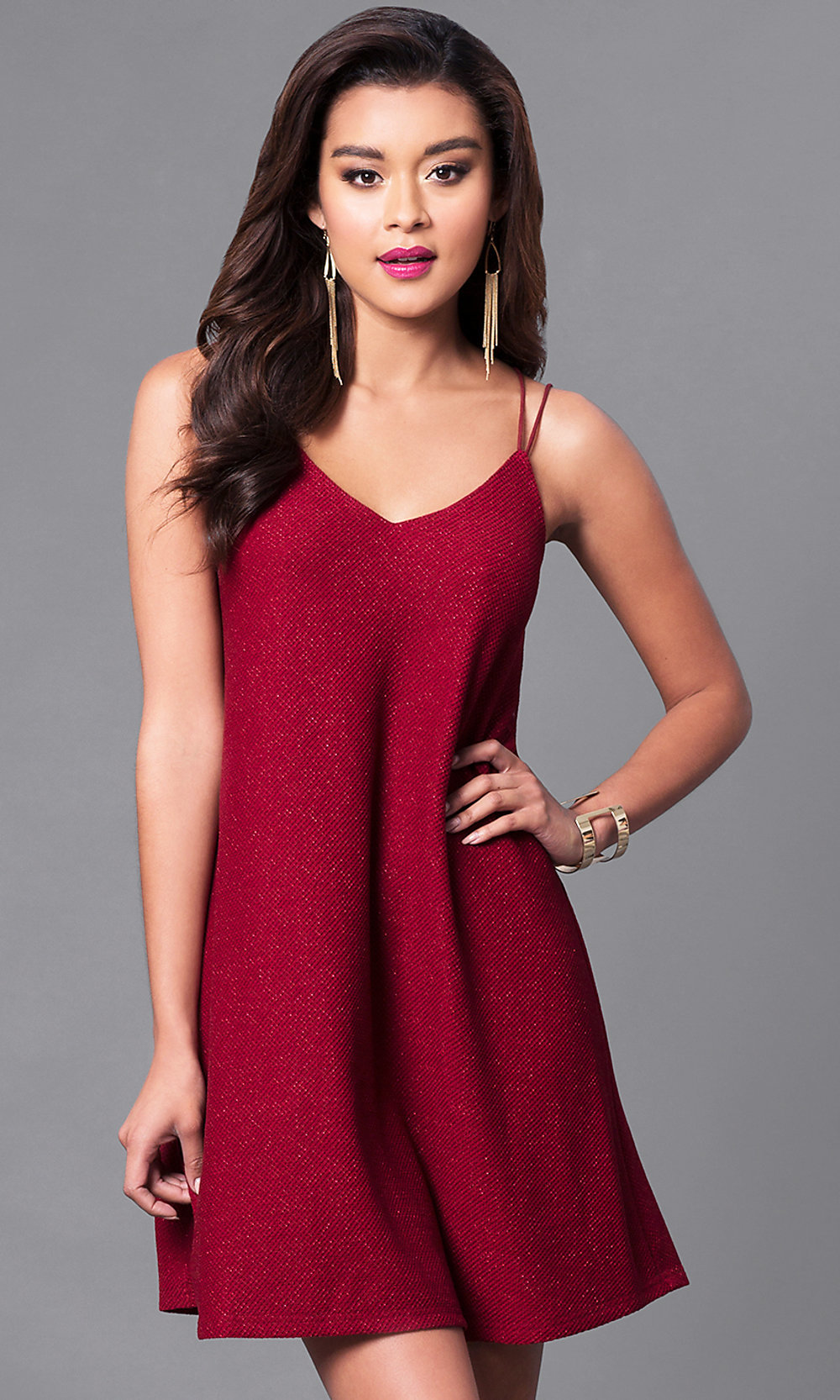 Cheap Short Wine Red Knit Shift Party Dress-PromGirl