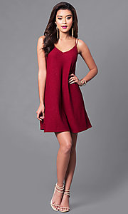 Image of semi-casual short shift wine red party dress.  Style: VJ-VD31796 Detail Image 1