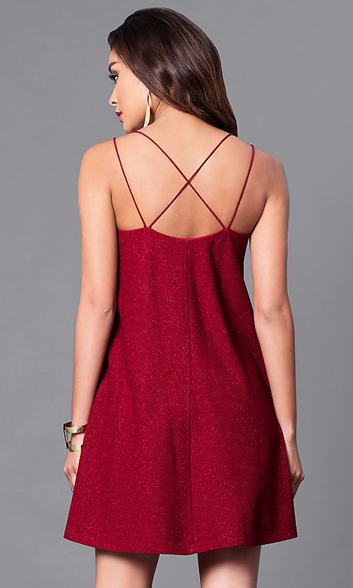 Image of semi-casual short shift wine red party dress.  Style: VJ-VD31796 Back Image