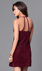 Image of wine red velvet party dress with thin black straps. Style: VJ-VD31682 Back Image
