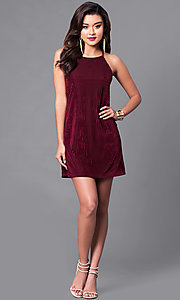 Image of wine red velvet party dress with thin black straps. Style: VJ-VD31682 Detail Image 1