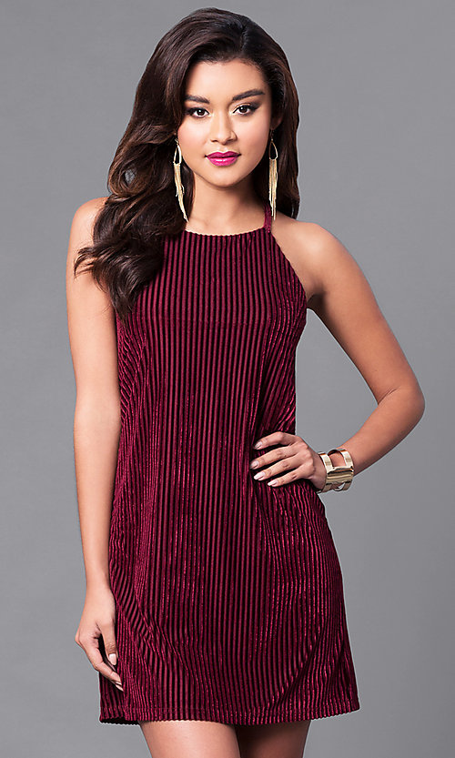 Image of wine red velvet party dress with thin black straps. Style: VJ-VD31682 Front Image
