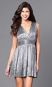 Image of v-neck short metallic party dress with empire waist. Style: VJ-LD41365 Front Image