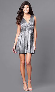 Image of v-neck short metallic party dress with empire waist. Style: VJ-LD41365 Detail Image 1
