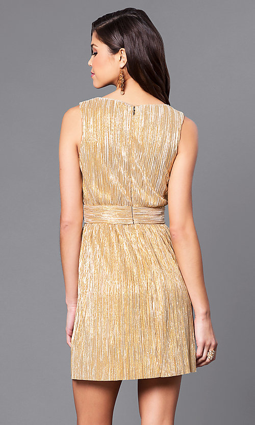 Image of v-neck short metallic party dress with empire waist. Style: VJ-LD41365 Back Image